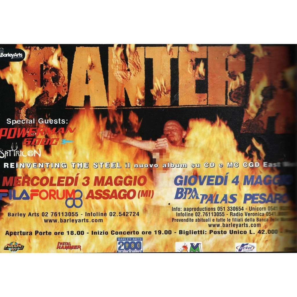 Pantera Milano 03 & Pesaro 04 May 2000 (Italian 2000 promo type advert concert flyer!)