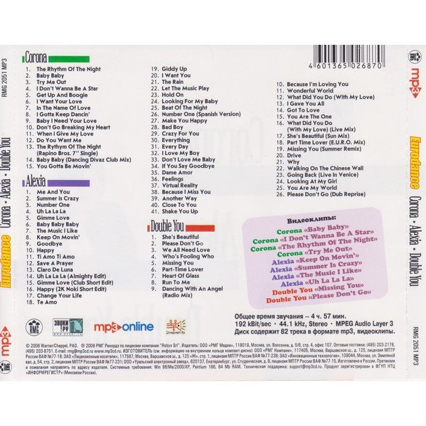 Corona / Alexia / Double You Eurodance MP3 Collection