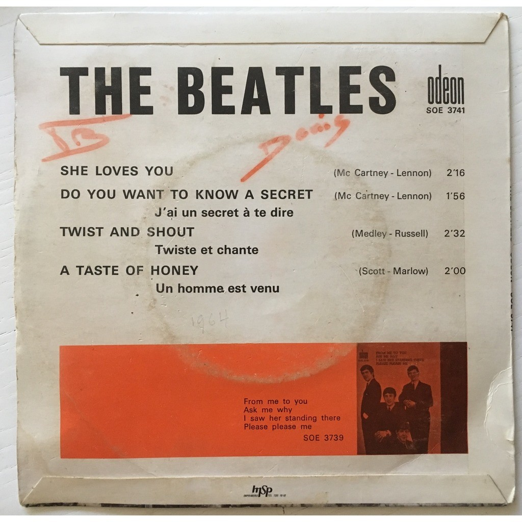 BEATLES - SHE LOVES YOU (FR. PRESSING 4 TRK VINYL 7 E.P. BLUE LBL)