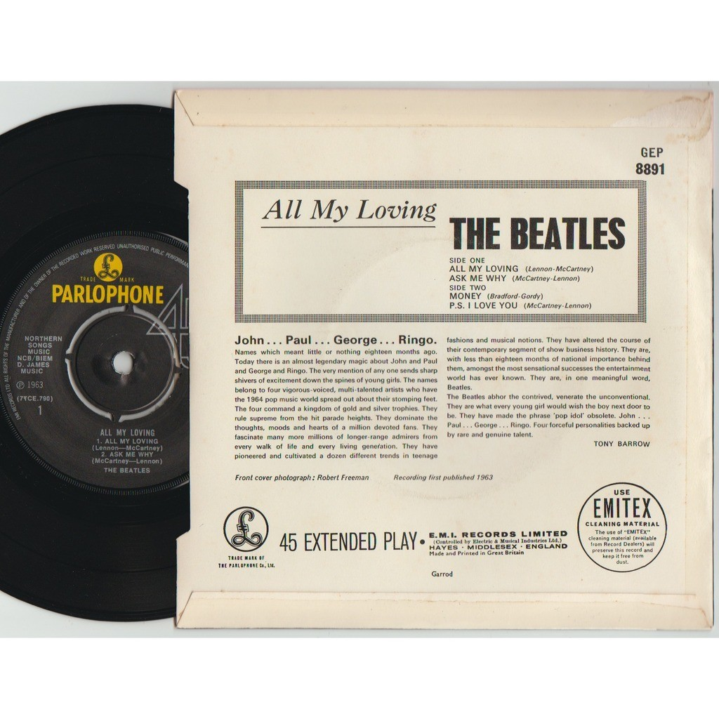 THE BEATLES all my loving + 3