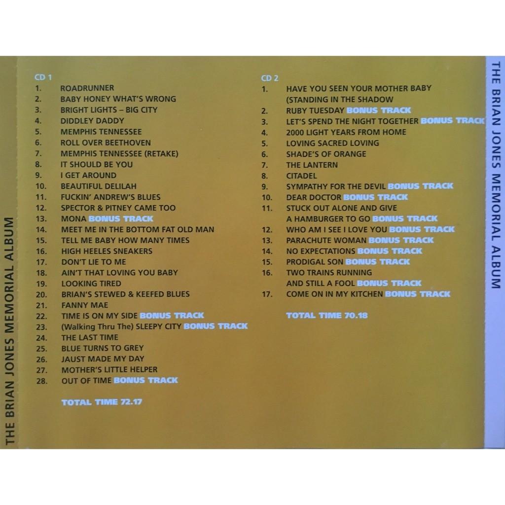 ROLLING STONES - THE BRIAN JONES MEMORIAL ALBUM (ALTERNATES - DEMOS - OUTTAKES & MORE)