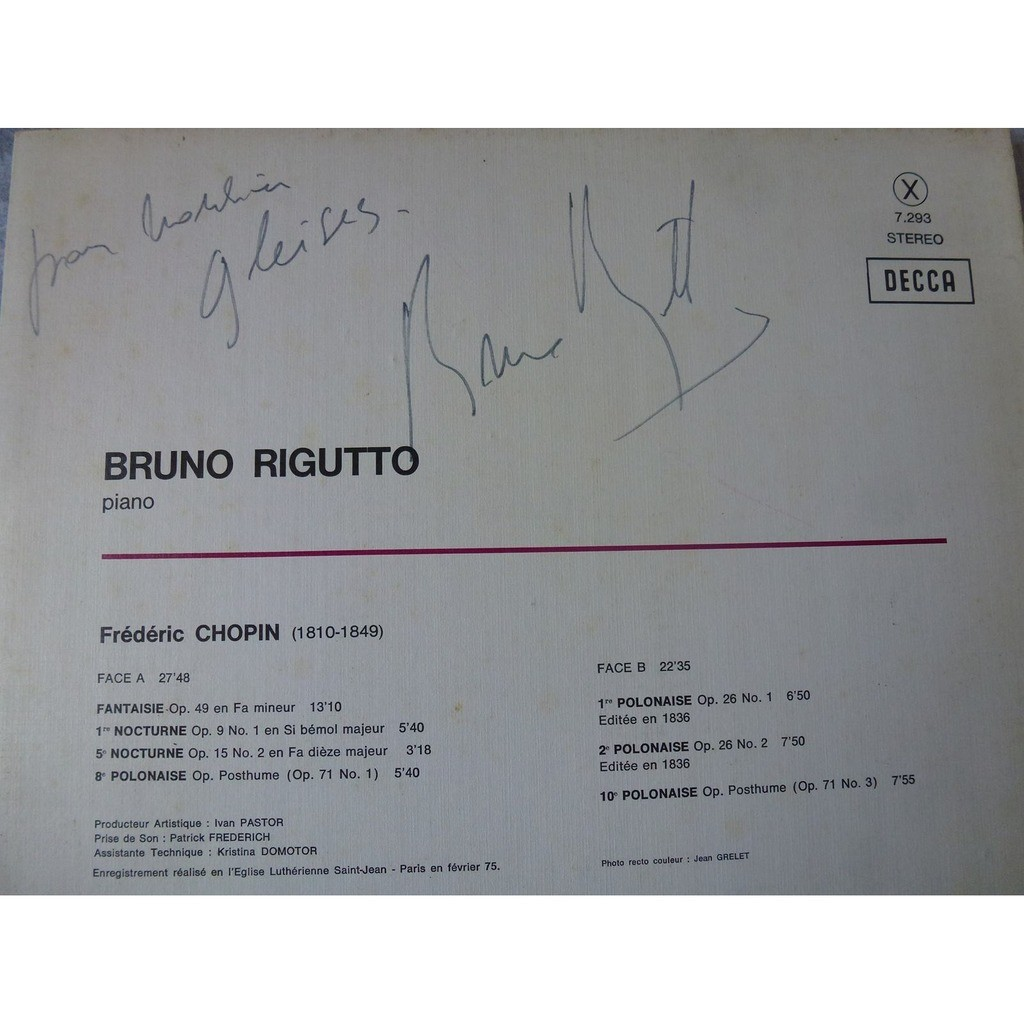 Frédéric Chopin / Bruno Rigutto autographed by bruno rigutto at the back cover !! - ( stéréo near mint condition )