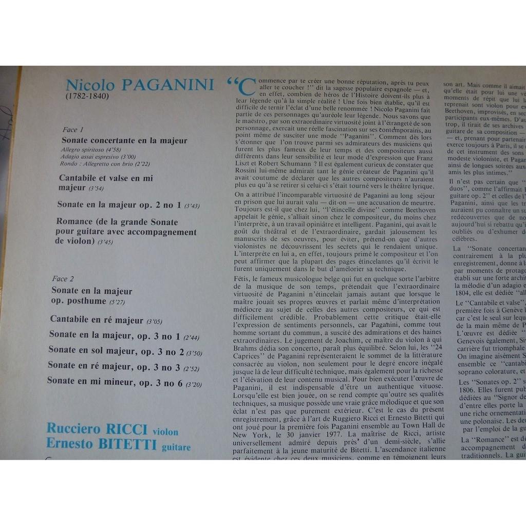 ruggiero ricci - ernesto bitetti Paganini : Oeuvres pour violon et guitare - ( stéréo mint condition )