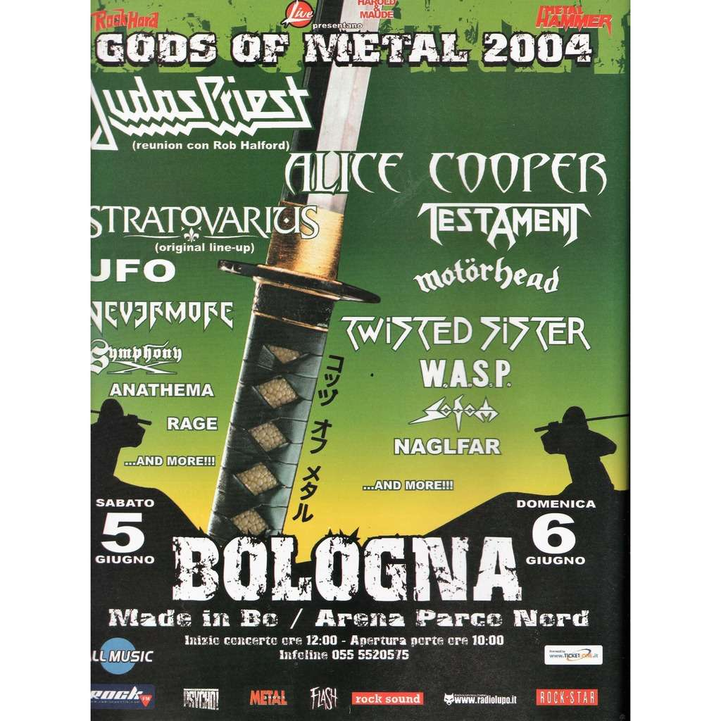 Judas Priest / Alice Cooper / Motorhead Gods Of Metal Bologna 05/06.06.2004 (Italian 2004 promo type advert concert poster!!)