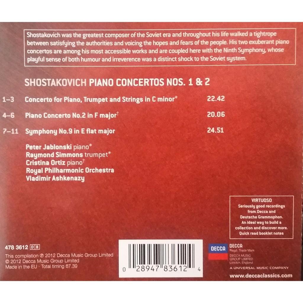 Shostakovich (Piano : Peter Jablonski) PIANO CONCERTOS NOS.1 & 2