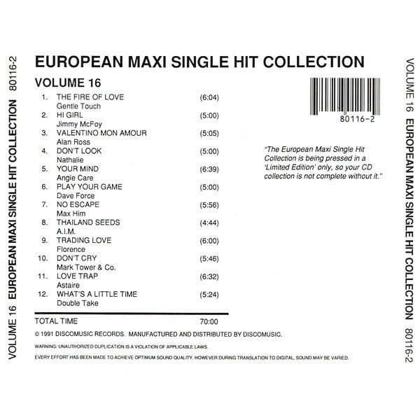 European Maxi Single Hit Collection vol.16 Gentle Touch,Jimmy McFoy,Alan Ross,Angie Care,Dave Force,Max Him,Florence,Astaire,Double Take