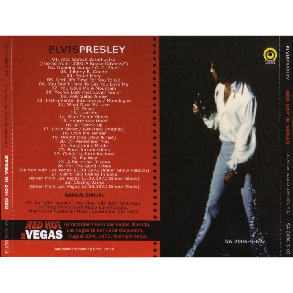 elvis presley 1 cd red hot in vegas cd 23/8/72 las vegas midnight show