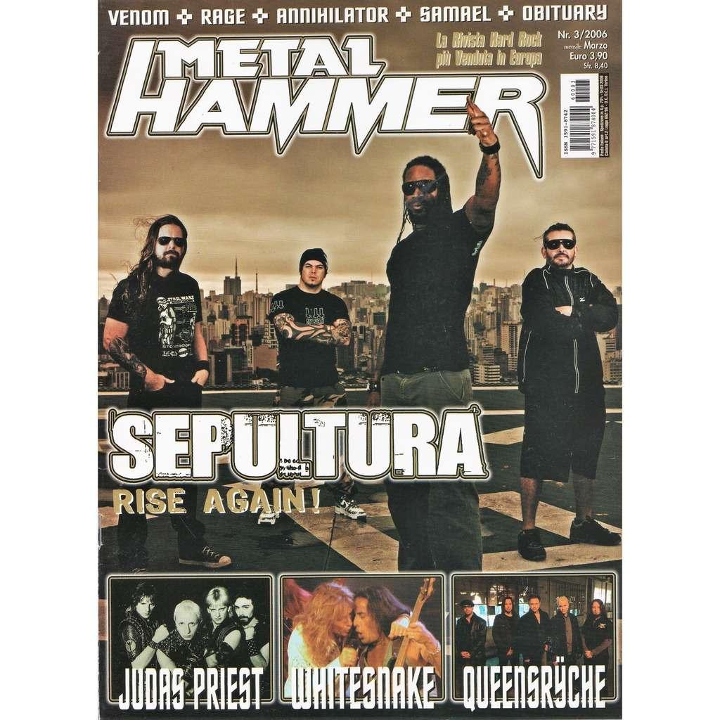 Sepultura Metal Hammer (N.3 March 2006) (Italian 2006 Sepultura front cover magazine!!)
