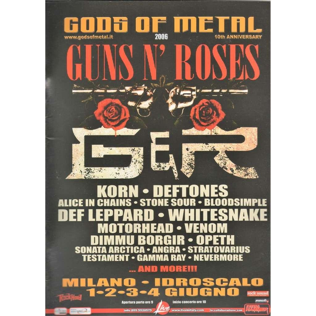 guns n' roses / Korn / Def Leppard / Deftones Gods Of Metal Milano Idroscalo 01/02/03/04.06.2006 (Italian 2006 promo type advert concert poster!)