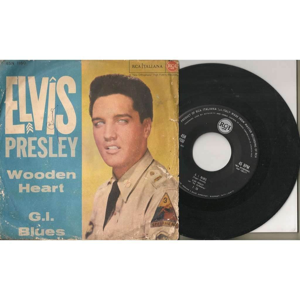elvis presley 1 black vinyl noir 45 italy wooden heart / gi blues RCA 45N 1150