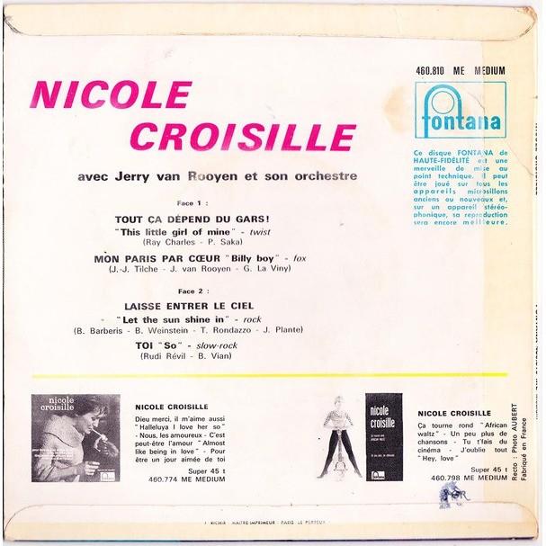 Nicole CROISILLE Tout ça dépend du gars ! + 3 (rare original FRench press - Fleepback & tag covere - 1961)