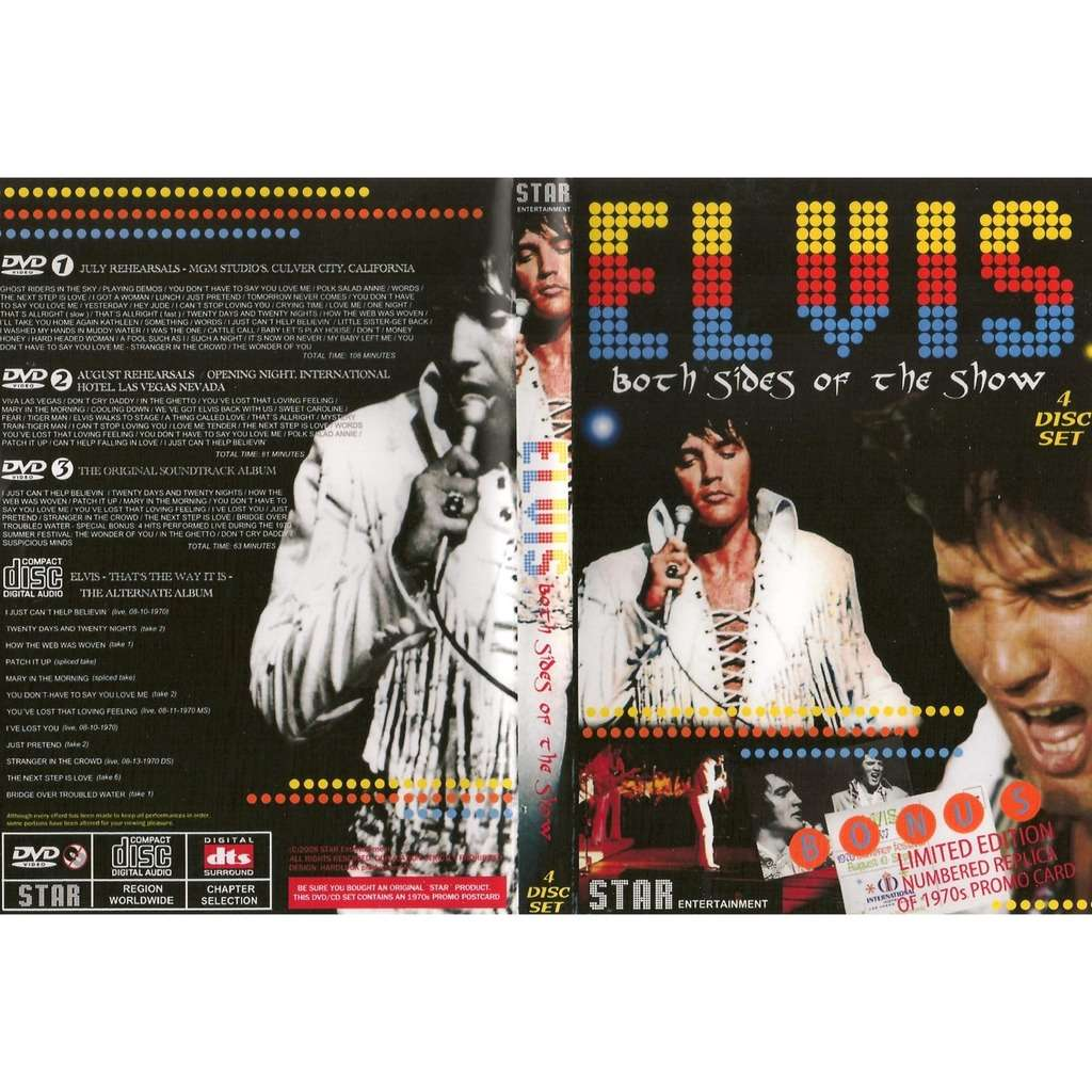 elvis presley 0003 dvd + 1 cd set both sides of the show 1970 studio, live and rehearsals on video