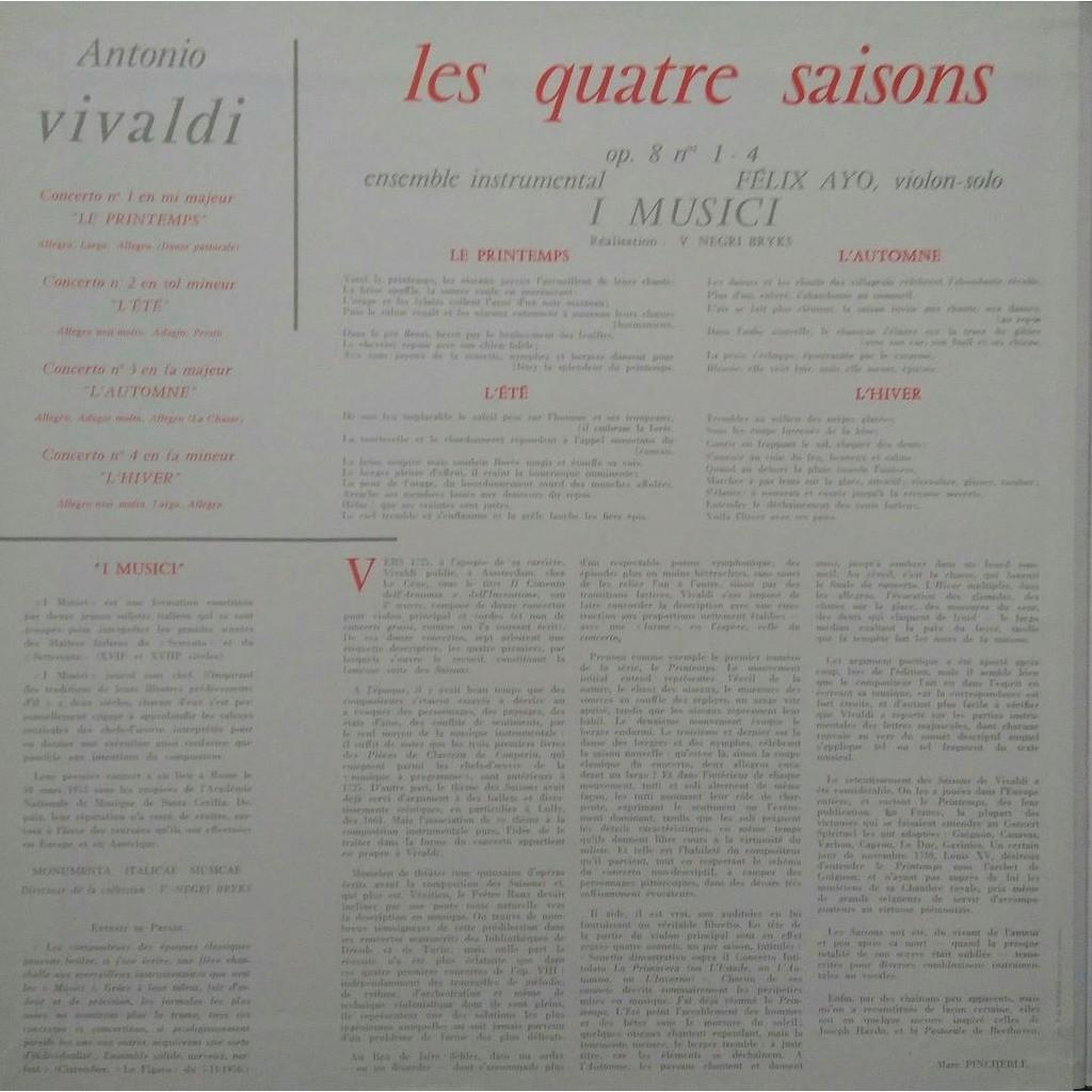 ANTONIO VIVALDI Les 4 Saisons - Ensemble Instrumental I Musici