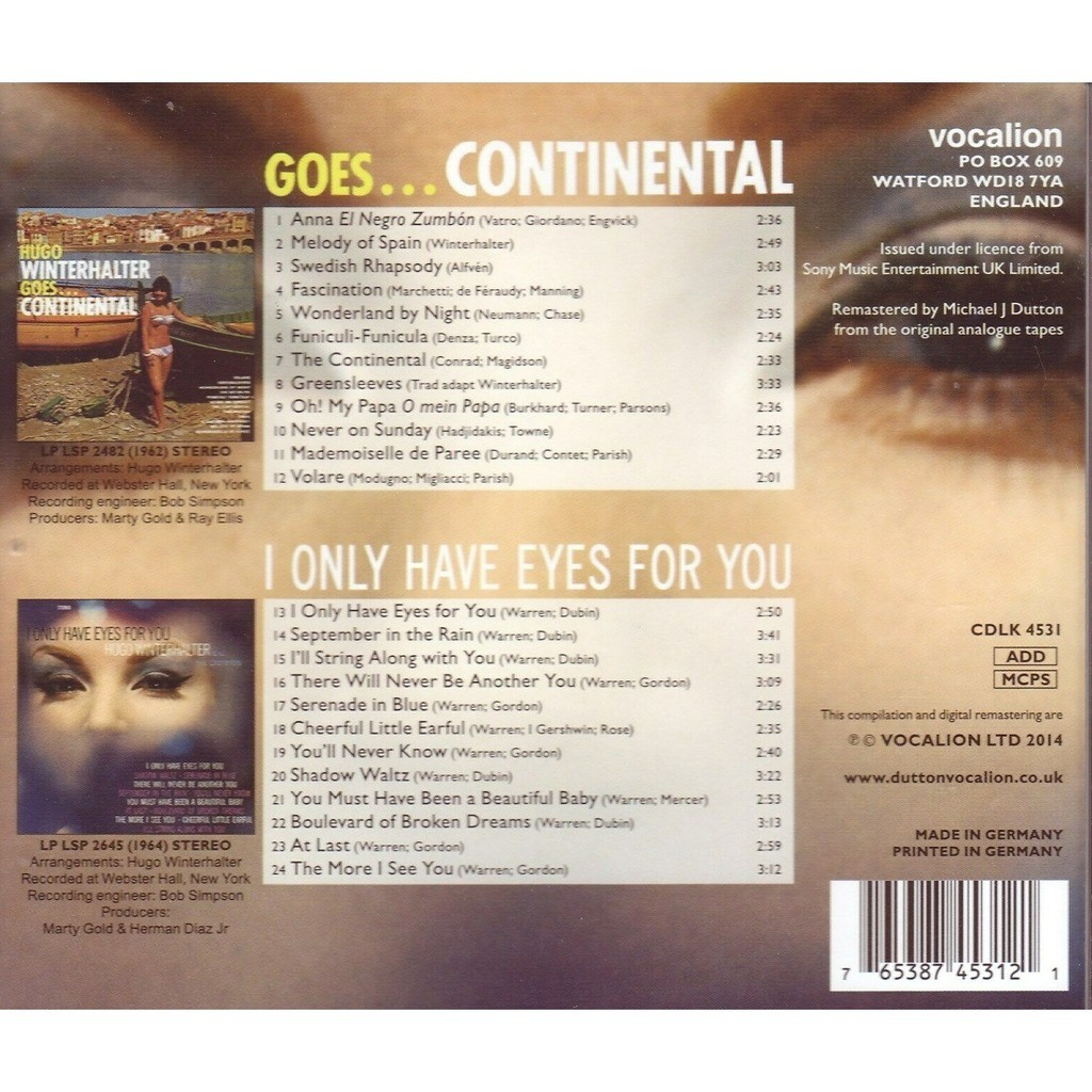 Hugo Winterhalter Goes . . . Continental / I Only Have Eyes For You