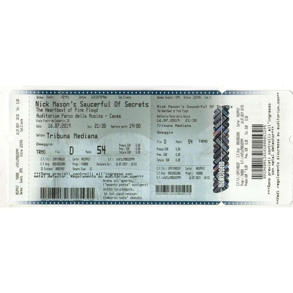 Pink Floyd / Nick Mason's Saucerful Of Secrets Roma Auditorium 16.07.2019 (Italian 2019 original concert ticket!!)