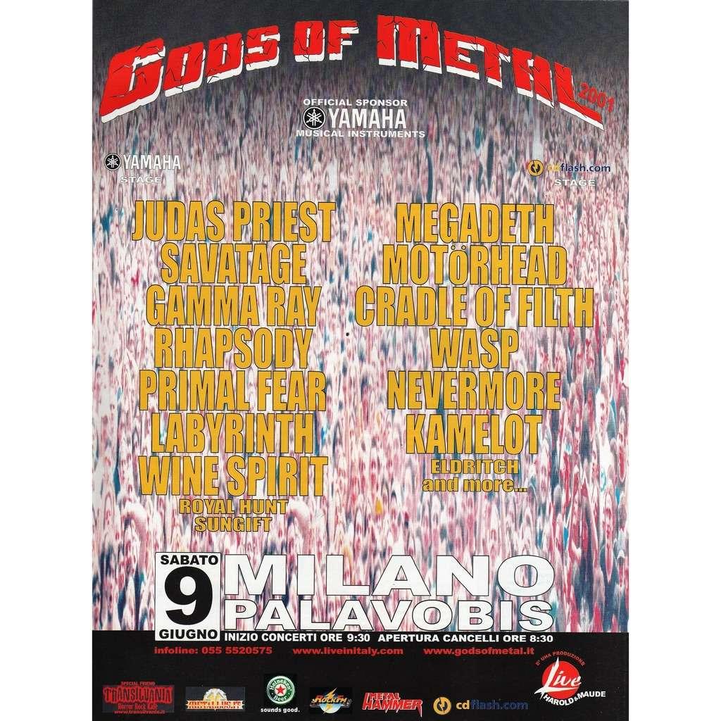 Judas Priest / Megadeth / Motorhead Gods Of Metal 2001 - Milano Palavobis 09.06.01 (Italian 2001 promo type advert concert poster flyer)