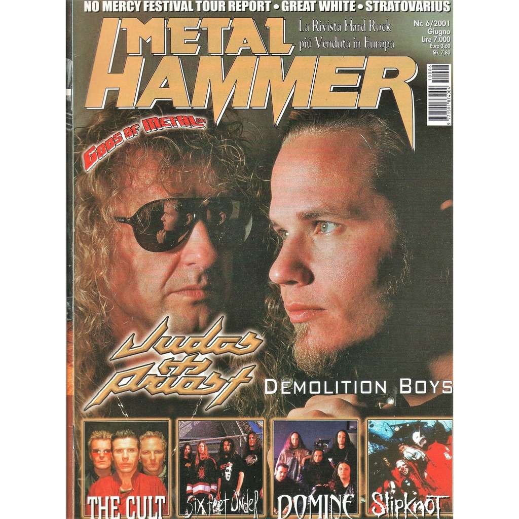 Judas Priest Metal Hammer (N.6 June 2001) (Italian 2001 Judas Priest front cover magazine!!)