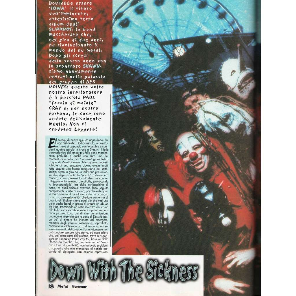 Slipknot Metal Hammer (N.6 June 2001) (Italian 2001 music magazine!!)