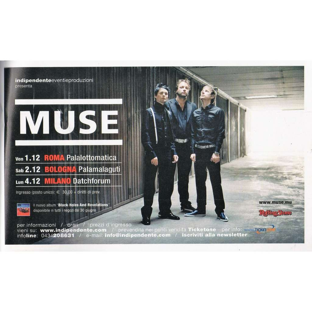 muse Italian Tour Dec..2006 (Italian 2006 promo type advert concert flyer!!)