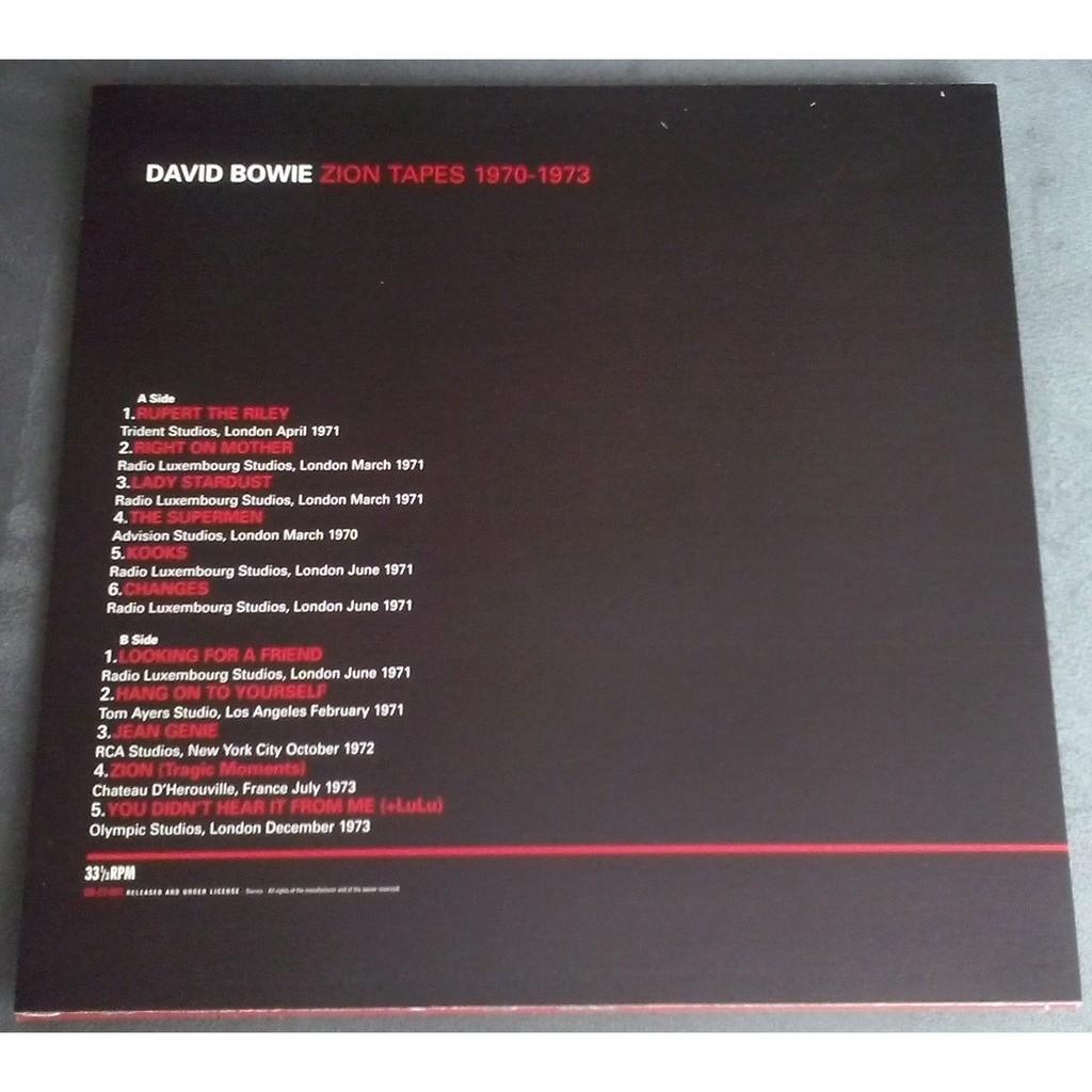 David Bowie Zion Tapes 1970-1973 (lp)
