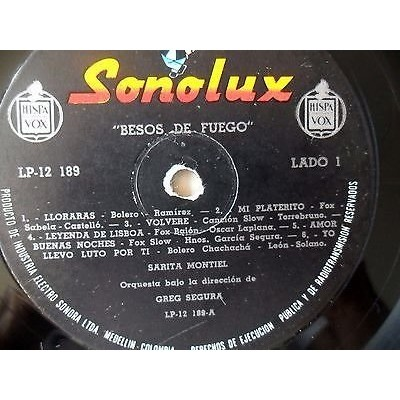 Sarita Montiel* - Besos De Fuego (LP, Album SARITA MONTIEL-*BESOS DE FUEGO*LLORARAS-APRENDE CORAZON-SONOLUX-COLOMBIA/PR-1958 lp/vinyl