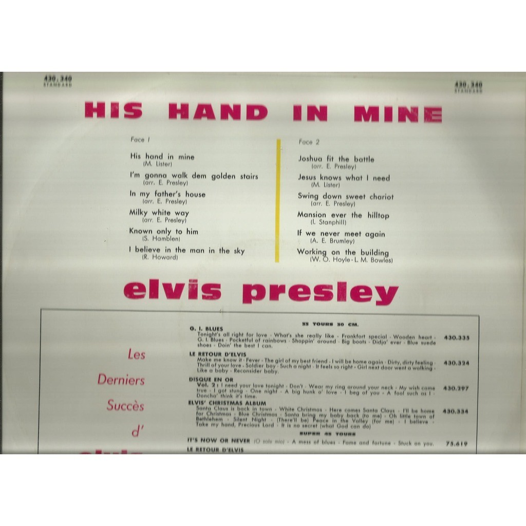 elvis presley his hand in mine
