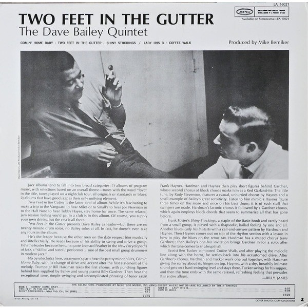The Dave Bailey Quintet 2 Feet In The Gutter