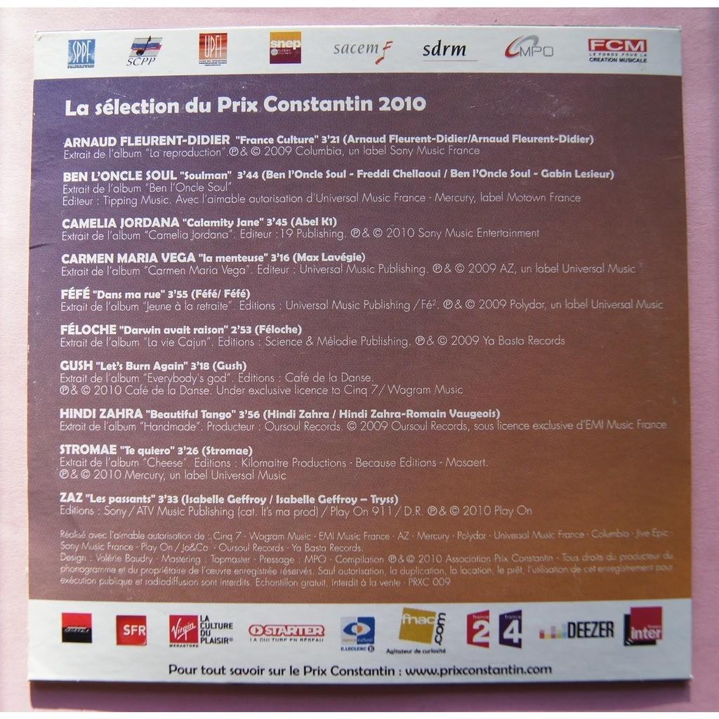 divers artistes - various artist / STROMAE / FEFE. PRIX CONSTANTIN 2010