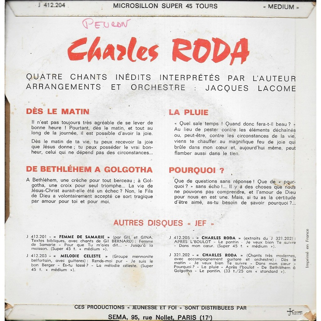 Dès Le Matin By Charles Roda Ep With Alainl16