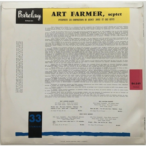 Art Farmer Gigi Gryce, Quincy Jones Horace Silver Art Farmer Septet