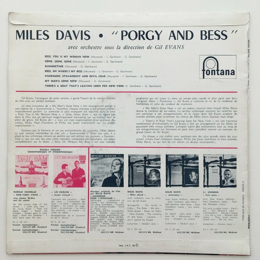 Miles Davis Cannonball Adderley Paul Chambers ... Porgy And Bess