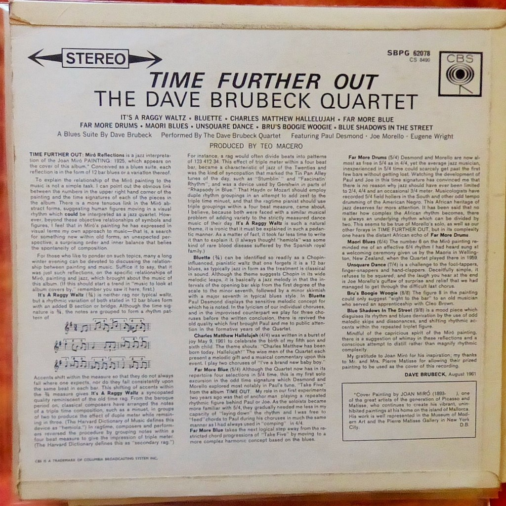 THE DAVE BRUBECK QUARTET TIME FURTHER OUT