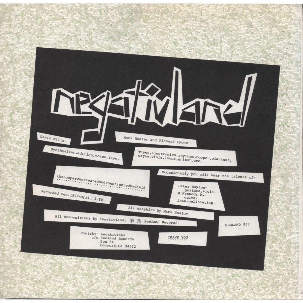 NEGATIVLAND MarkHosler, RichardLyons, David Wills (1st studio album) + Insert (DIY / experimental)