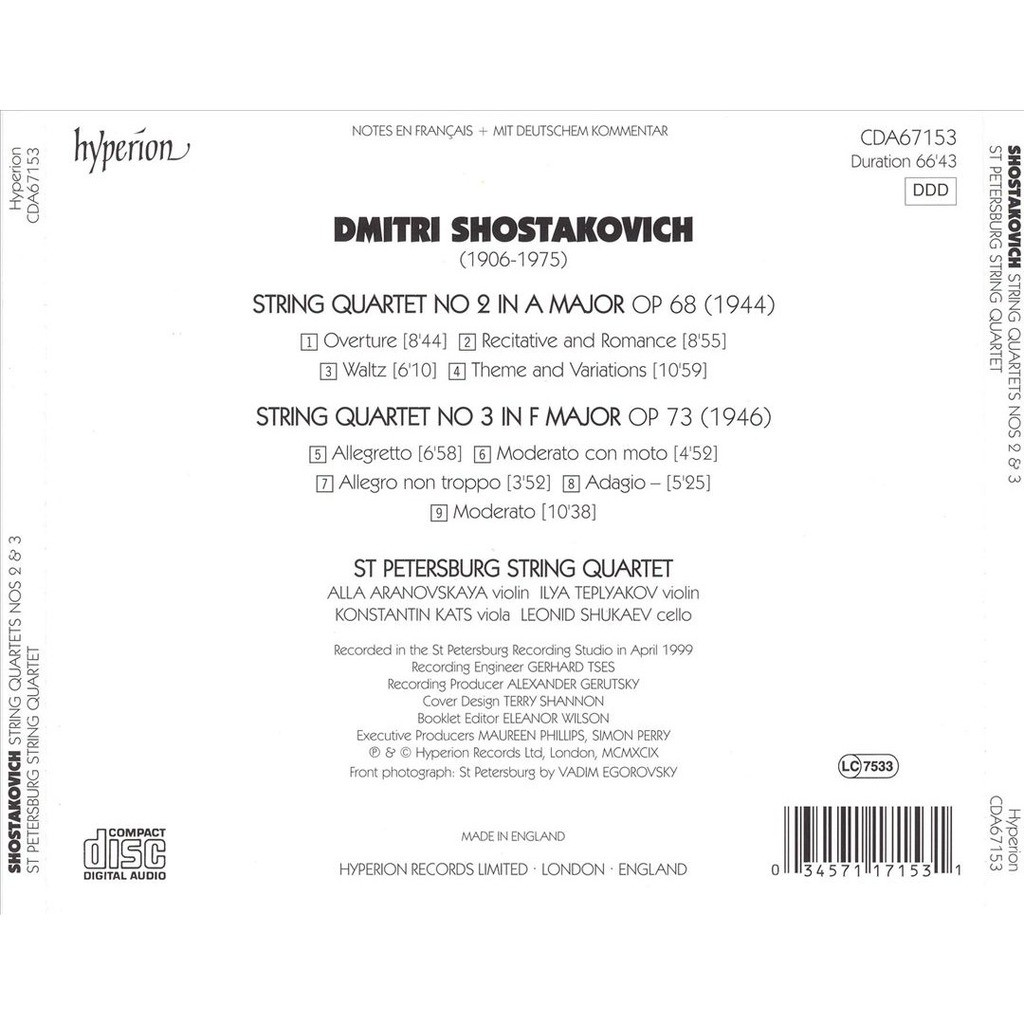 String quartets no  2 & 3 / st petersburg string quartet by Shostakovich,  Dmitri, CD with melomaan
