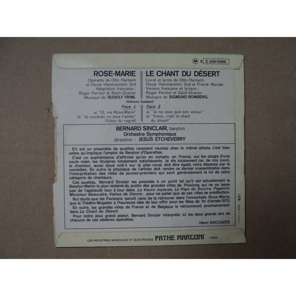 SINCLAIR BERNARD ROSE MARIE + 1 / LE CHANT DU DÉSERT + 1 ( BARYTON ) 3eme EP