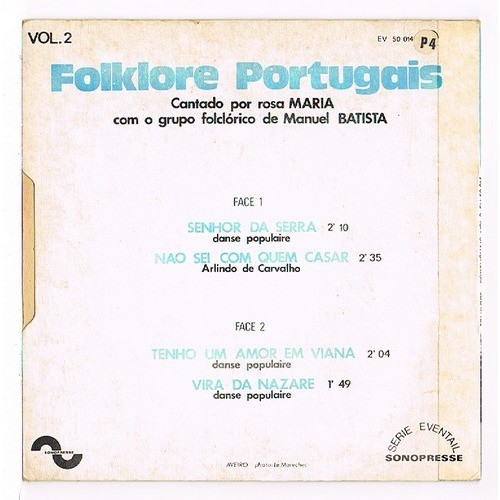 BATISTA MANUEL ( grupo folclorico ) folklore portugais vol.2 : senhor da serra + 3 ( cantado por ROSA MARIA )
