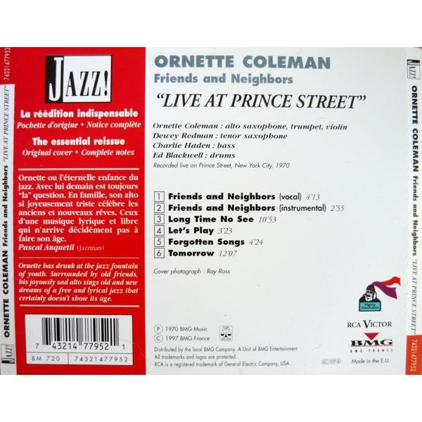Ornette Coleman Friends And Neighbors (Ornette Live At Prince Street)