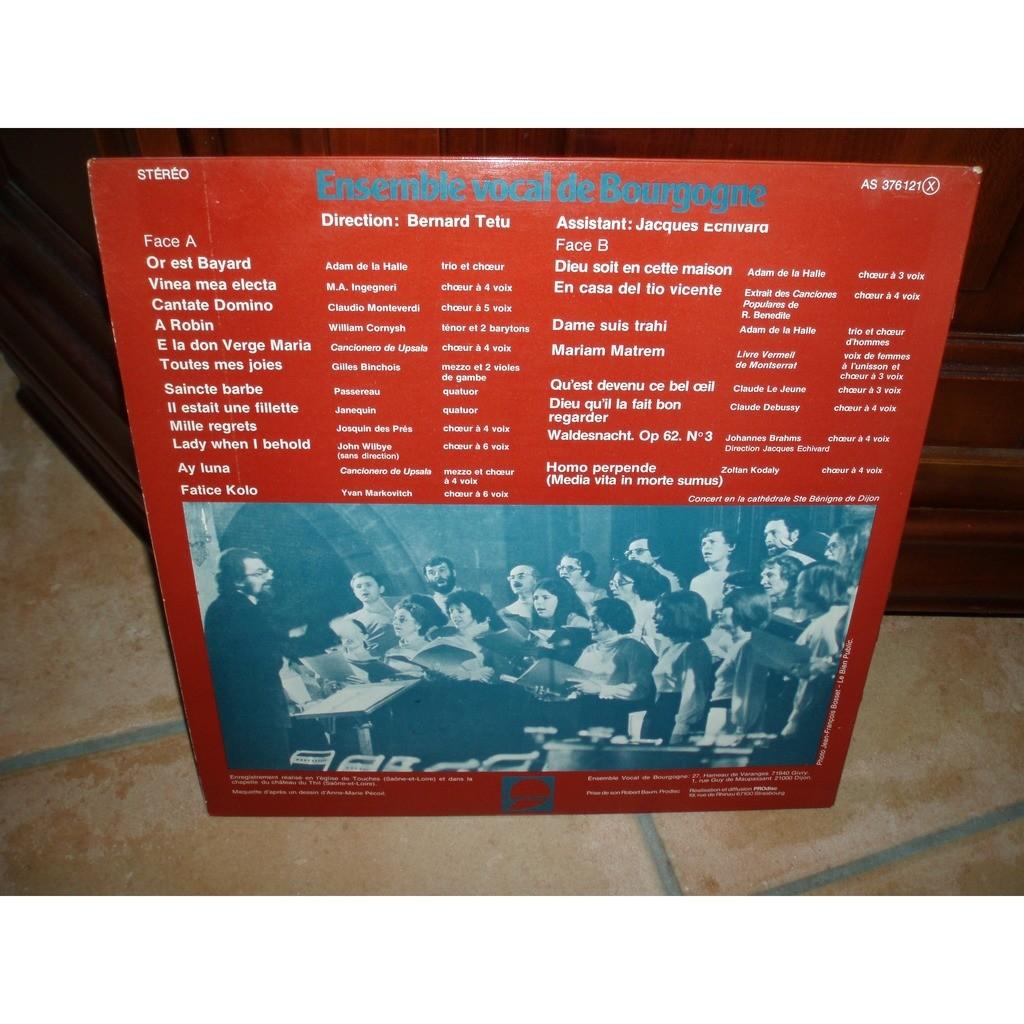 ENSEMBLE VOCAL DE BOURGOGNE HUIT SIECLES DE MUSIQUE VOCALE./ BERNARD TETU / JACQUES ECHIVARD