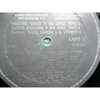 MIGUEL CALO Y SU ORQ.TIPICA-LUCIO DE MARE Y SU ORQ MIGUEL CALO Y SU ORQ.TIPICA-LUCIO DE MARE Y SU ORQ. TIPICA CABTA: RAUL BERON VG+