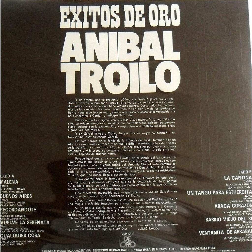 ANIBAL TROILO*EXITOS DE ORO*CANTA:RAUL BERON- ANIBAL TROILO*EXITOS DE ORO*CANTA:RAUL BERON-JOSE CASAL-CARLOS OLMEDO- DEORO COL