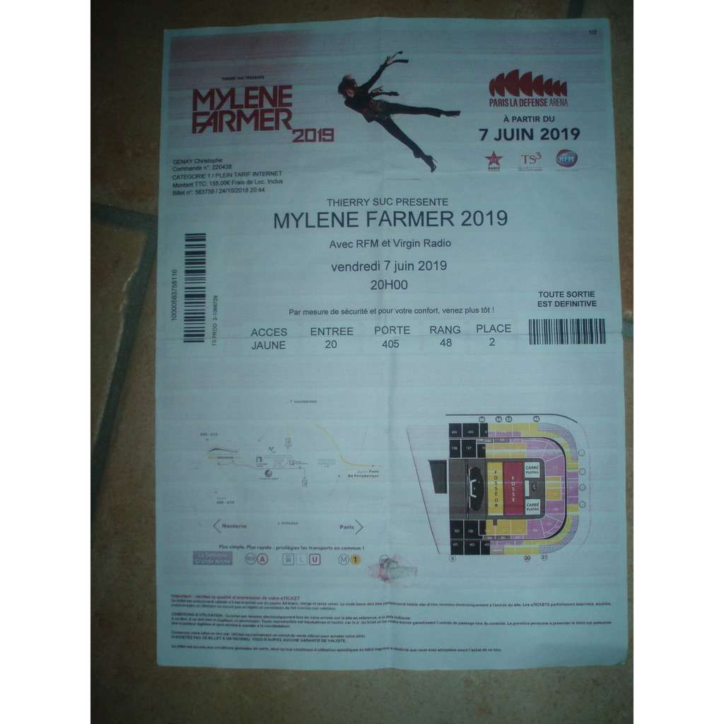 mylène farmer TICKET / BILLET DE SPECTACLE DE MYLENE FARMER A PARIS LA DEFENSE ARENA.