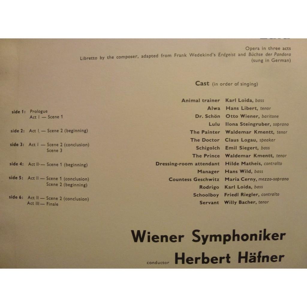 Alban Berg - Wiener Symphoniker, Herbert Häfner Lulu - ( triple lp 12 near mint condition )
