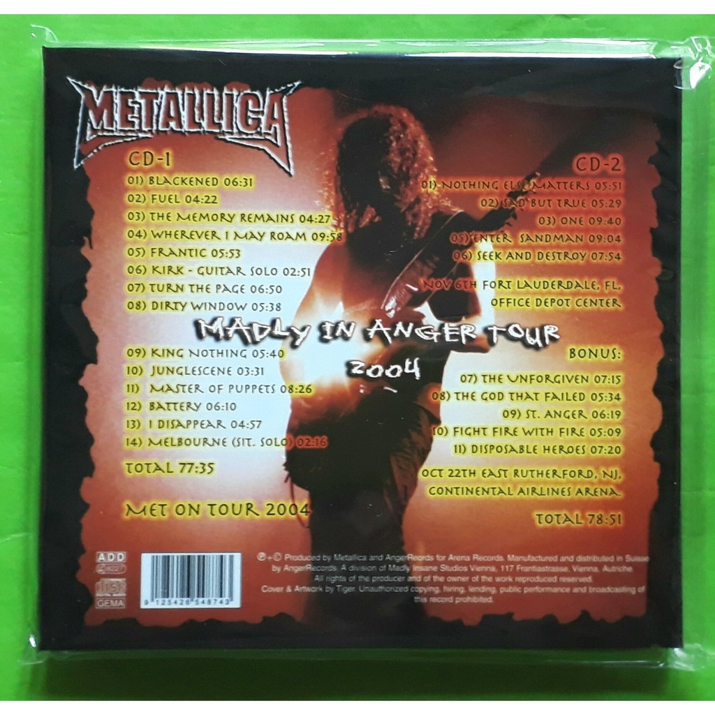 METALLICA MADLY IN ANGER TOUR 2004-(Limited édition)(2CD)(Digipack)(Original)(2004)(Switzerland)