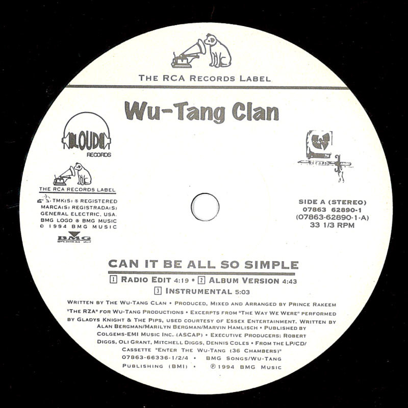 Wu-Tang Clan Can It Be All So Simple / Wu-Tang Clan Ain't Nuthing Ta F' Wit