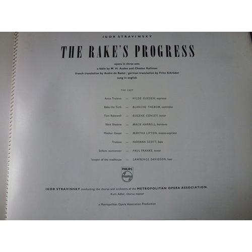 Stravinsky. Igor conducts the rake's progress HILDE GUEDEN / BLANCHE THEBOM / EUGENE CONLEY - ( very rare triple lp 12 )