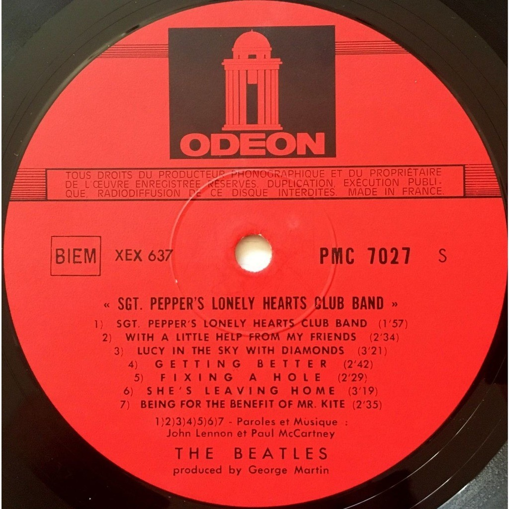 BEATLES - SGT PEPPERS LONELY HEARTS CLUB BAND (FR. PRESSING 12 VINYL LP RED ODEON LBL)