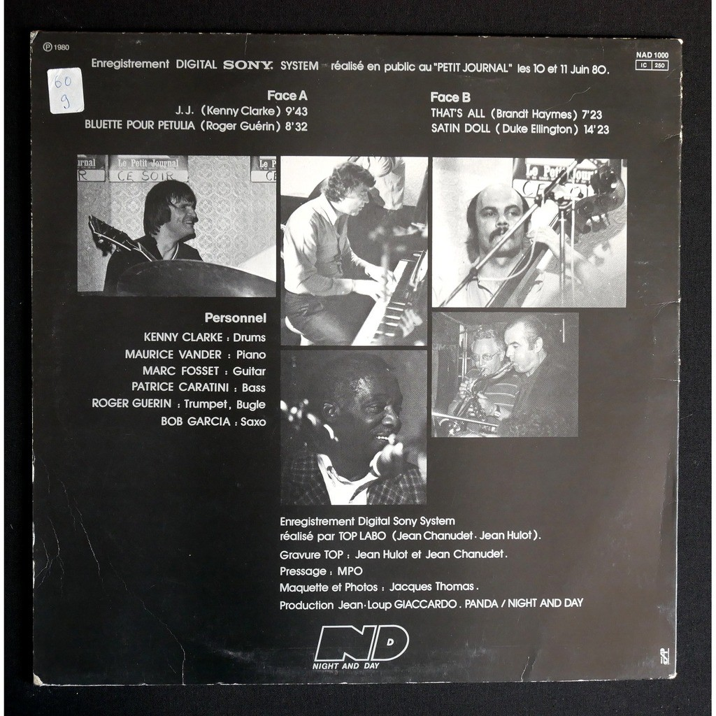 Kenny Clarke / Maurice Vander / Marc Fosset ... Kenny To Day