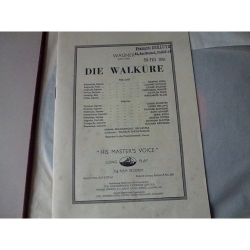 Mödl, Suthaus, Rysanek, Frantz, Frick, Klose Wagner : Die Walküre / Wilhelm Furtwängler dir vienna philharmonic orchestra - ( very rare ed1 )