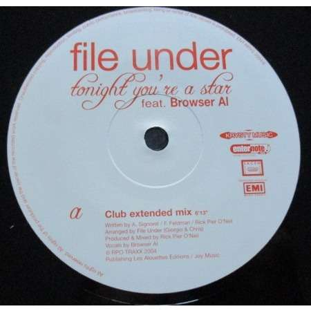 FILE UNDER (feat. Al BROWSER) Tonight You're A Star (Club Extended Mix) promo