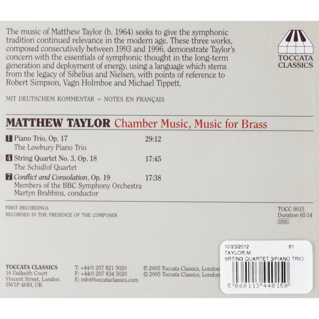 Matthew Taylor Chamber Music, Music for Brass